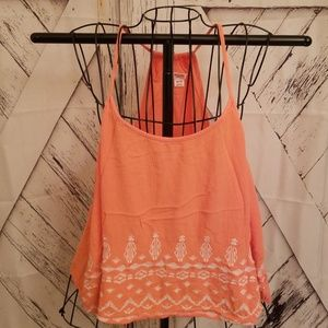Peach Embroidered tank